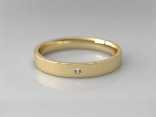 Alianza plana de 3.00mm en Oro amarillo 18K con 1 Diamante (total 0.015q.)