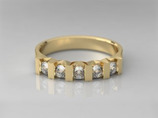 Anillo en Oro amarillo 18K con 5 Diamantes (total 0.3q.)