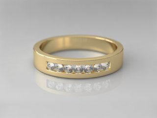 Anillo de 4.00mm en Oro amarillo 18K con 7 Diamantes (total 0.21q.)