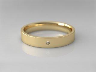 Alianza plana de 3.50mm en Oro amarillo 18K con 1 Diamante (total 0.015q.)