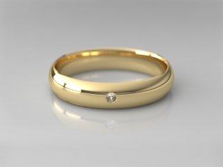 Alianza clásica media caña de 4.00mm en Oro amarillo 18K con 1 Diamante (total 0.015q.)