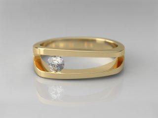 Solitario de 6.00mm en Oro amarillo 18K con 1 Diamante (total 0.15q.)