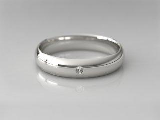 Alianza clásica media caña de 4.00mm en Plata 925 con 1 Diamante (total 0.015q.)