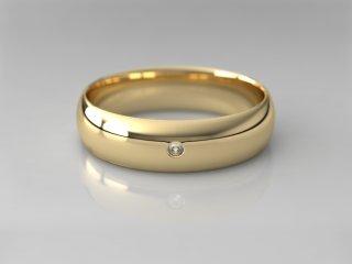 Alianza clásica media caña de 5.00mm en Oro amarillo 18K con 1 Diamante (total 0.015q.)