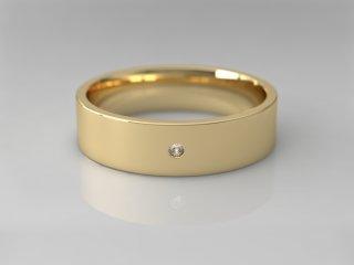 Alianza plana de 5.00mm en Oro amarillo 18K con 1 Diamante (total 0.015q.)