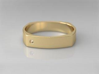 Alianza cuadrada de 4.00mm en Oro amarillo 18K con 1 Diamante (total 0.015q.)