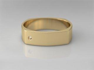 Alianza cuadrada de 5.00mm en Oro amarillo 18K con 1 Diamante (total 0.015q.)
