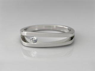 Solitario de 5.00mm en Oro blanco 18K con 1 Diamante (total 0.06q.)