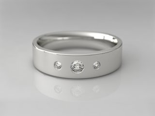 Anillo en Plata 925 con 3 Diamantes (total 0.160q.)