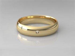 Alianza clásica media caña de 4.50mm en Oro amarillo 18K con 1 Diamante (total 0.015q.)