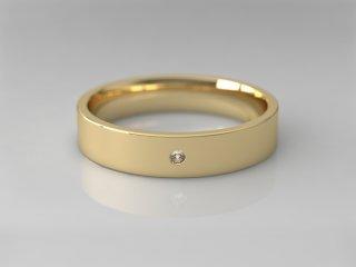 Alianza plana de 4.00mm en Oro amarillo 18K con 1 Diamante (total 0.015q.)