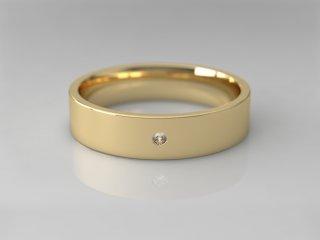 Alianza plana de 4.50mm en Oro amarillo 18K con 1 Diamante (total 0.015q.)