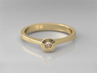 Solitario en Oro amarillo 18K con 1 Diamante (total 0.06q.)