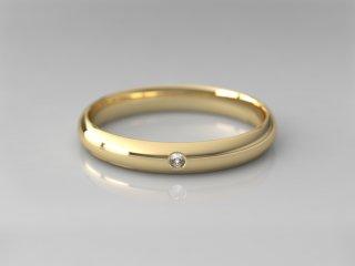 Alianza clásica media caña de 3.00mm en Oro amarillo 18K con 1 Diamante (total 0.015q.)