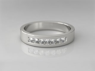 Anillo de 4.00mm en Oro blanco 18K con 7 Diamantes (total 0.21q.)