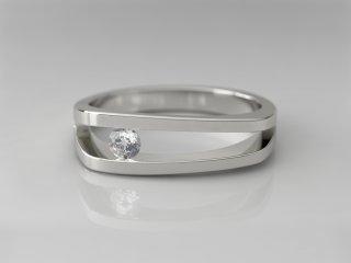 Solitario de 5.50mm en Oro blanco 18K con 1 Diamante (total 0.1q.)
