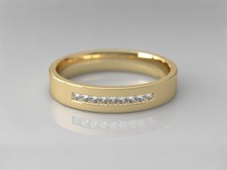 Alianza de diamantes en Oro amarillo 18K con 9 Diamantes (total 0.09q.)