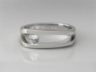 Solitario de 6.00mm en Oro blanco 18K con 1 Diamante (total 0.15q.)