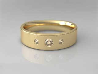 Anillo en Oro amarillo 18K con 3 Diamantes (total 0.160q.)