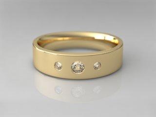 Anillo en Oro amarillo 18K con 3 Diamantes (total 0.160q.)